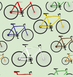Seamless pattern with bicycles vector