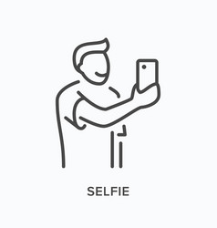 selfie flat line icon outline vector image