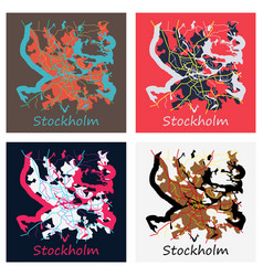 Set of flat color map of stockholm sweden all vector