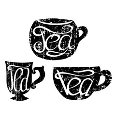 Set of teacups with lettering and scratches hand vector