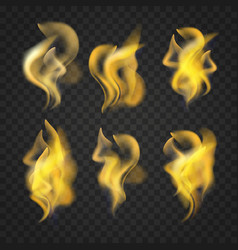 set of transparent realistic fire flames vector image