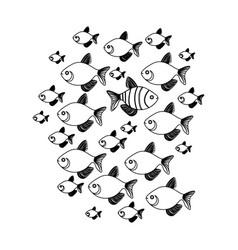 Silhouette set collection fish aquatic animal vector