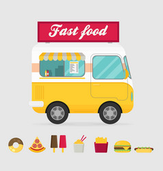 street food truck food caravan burger van vector image