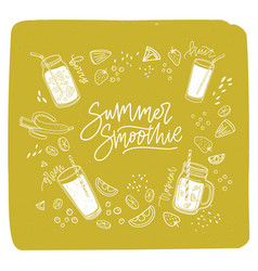 Summer smoothie lettering written with cursive vector