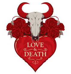 T-shirt design on the theme of love and death vector