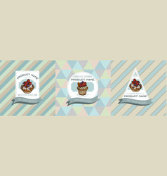 three colored labels with cupcake vector image