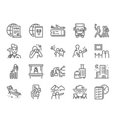 tourism line icon set vector image