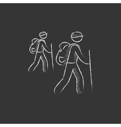 Tourist backpackers Drawn in chalk icon vector