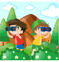 two boys in bush for bird watching vector image
