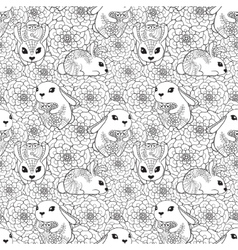 Vintage seamless pattern with bunnies and flowers vector image