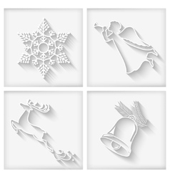 White Long Shadows Christmas Icons vector image