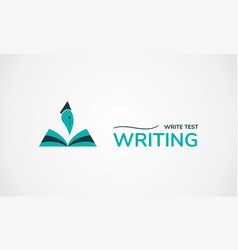 write test logo creative symbol book and pen vector image