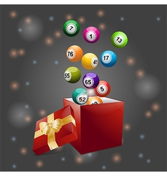 Bingo balls out of festive gift box vector image vector image