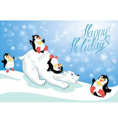 Card with funny penguins and polar bear on blue sn vector image vector image