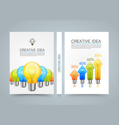 creative idea banner lamp arrow up a4 size paper vector image vector image