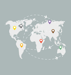 global logistic grey map with colorful indications vector image vector image