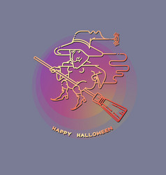 happy halloween card with witch on a broom vector image vector image