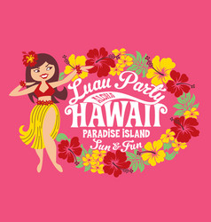 luau party hawaii paradise island vector image vector image