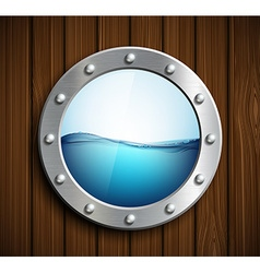 Round porthole on a wooden surface vector image
