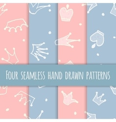 Cute hand drawn blue and pink seamless pattern vector image