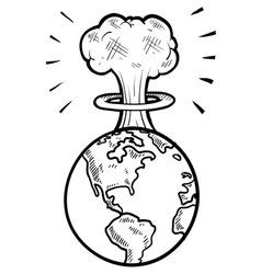 doodle earth nuke vector image vector image