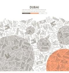 Dubai doodle website template design vector