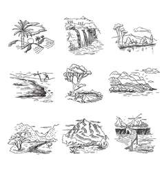 Hand drawn rough draft doodle sketch nature vector image