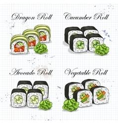 sushi color sketch set vector image vector image
