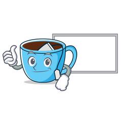 Thumbs up with board tea cup character cartoon vector