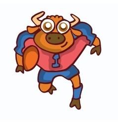 Bull playing american football cartoon vector image vector image