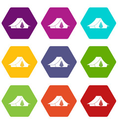 camping tent icon set color hexahedron vector image