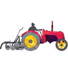 Farmer Driving Vintage Farm Tractor Low Polygon vector image