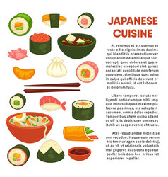 japanese cuisine promotional poster with vector image vector image