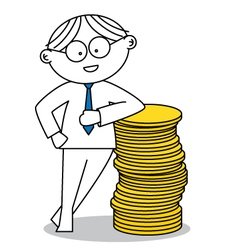Lucky man with a stack of coins vector image
