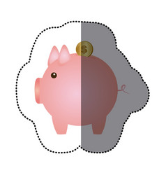 sticker pink piggy bank with dollar coin vector image