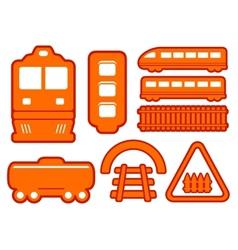 yellow rail road icons set vector image