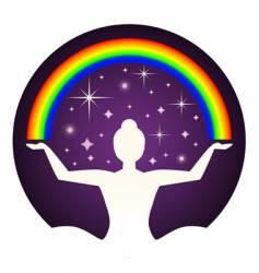 yogi and rainbow vector image vector image