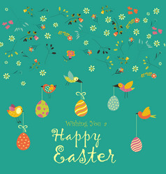 card with decorative eggs and birds vector image
