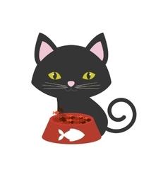 cat pink ears green eyes plate food fish print vector image