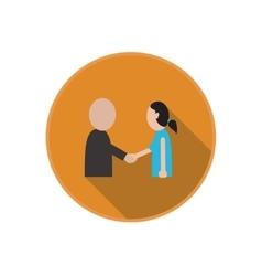 flat icon of handshake between friends vector image vector image