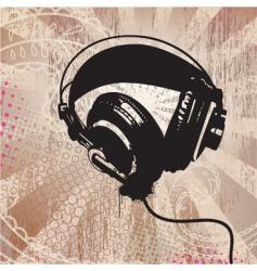 grunge headphones vector image vector image