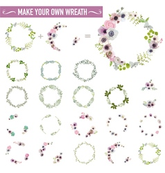 Vintage flower wreath set - watercolor style vector