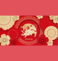 2021 - chinese new year ox - card decorated vector image