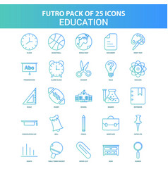 25 green and blue futuro education icon pack vector