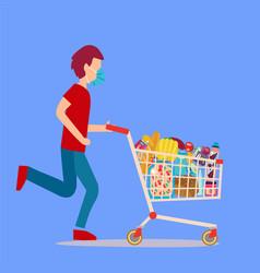 A man wearing surgical mask pushing supermarket vector