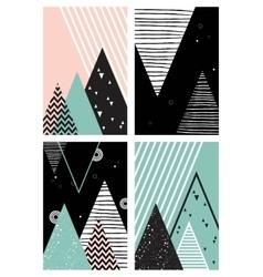 Abstract geometric scandinavian pattern set vector