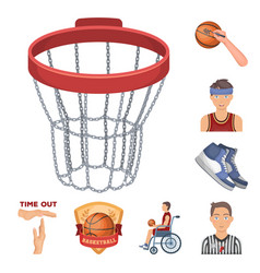 Basketball and attributes cartoon icons in set vector