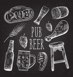 Beer hand drawn menu poster banner on chalkboard vector