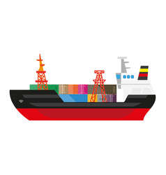 Big cargo ship full of metal containers on deck vector