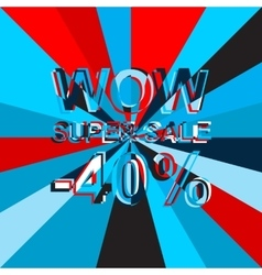 Big ice sale poster with WOW SUPER SALE MINUS 40 vector image
